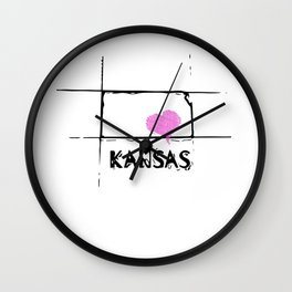 Love Kansas State Sketch USA Art Design Wall Clock