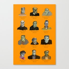 Field Guide to Man-Made Monsters (orange) Canvas Print