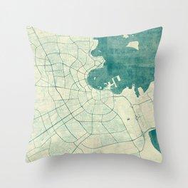Doha Map Blue Vintage Throw Pillow