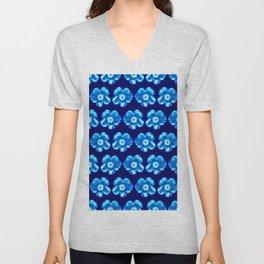 Blue Flower Girly Pattern Unisex V-Neck