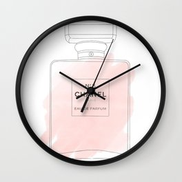 pink watercolor perfume Wall Clock