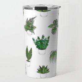 Houseplants Illustration (white background) Travel Mug