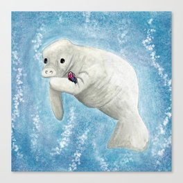 Manatee and Butterfly Watercolor and Digital Art Canvas Print