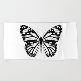 Monarch Butterfly   Vintage Butterfly   Black and White   Beach Towel
