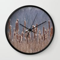 furry Wall Clocks featuring Furry Cattails by DanByTheSea