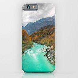 Magical river Soca cloudy autumn day Slovenia iPhone Case
