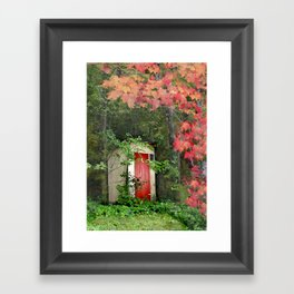 The Red Outhouse Door Framed Art Print