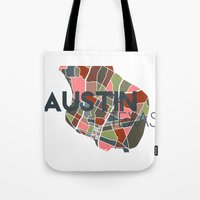 austin Tote Bags featuring Austin Texas + by Studio Tesouro