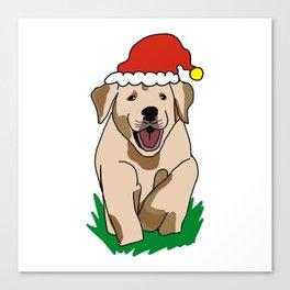 Cute Christmas Dog Santa Claus Doggy Happy Holidays Family Merry Dogmas Merry XMas Canvas Print