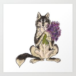 Wolf with Flowers Art Print