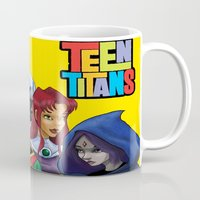 teen titans Mugs featuring Teen Titans by Paige Thulin