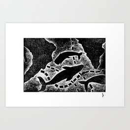 Whale's map Art Print
