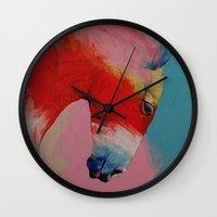 horse Wall Clocks featuring Horse by Michael Creese