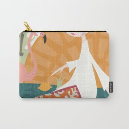 Girl with flamingo and Henri Matisse inspired decoration, vector illustration Carry-All Pouch
