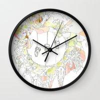 tooth Wall Clocks featuring sugar tooth by CASSIDY RAE MARIETTA