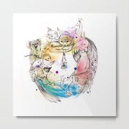 Animals Wreath Metal Print