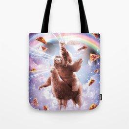 Laser Eyes Space Cat Riding Sloth, Llama - Rainbow Tote Bag
