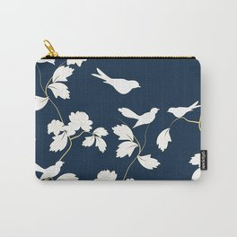 Birds, Branches and Blossoms Navy and White Carry-All Pouch