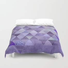 Glamorous Purple Faux Glitter And Foil Triangles Duvet Cover