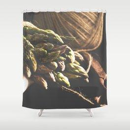 Fresch Asparagus on the table Shower Curtain