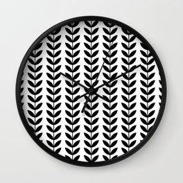 Black Scandinavian leaves pattern Wall Clock