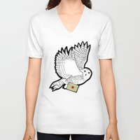 hedwig V-neck T-shirts featuring Hedwig by AriesNamarie