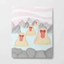 Snow Monkeys Metal Print
