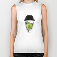 magritte Biker Tanks featuring Magritte Skull by HenryWine