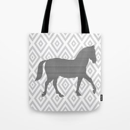 Horse - Abstract geometric pattern - gray, black and white. Tote Bag