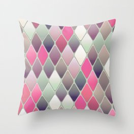 Vintage Diamond Pink Throw Pillow