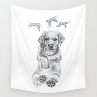 puppy Wall Tapestries featuring Flying Puppy by Wetherall