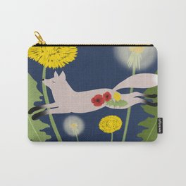 Leaping Fox Dandelions Folk Art Carry-All Pouch