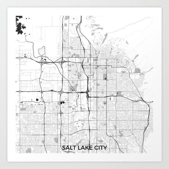Salt Lake City Map Gray Art Print