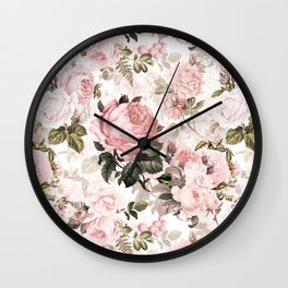 Vintage & Shabby Chic - Sepia Pink Roses  Wall Clock