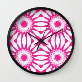 Hot Pink & White Pinwheel Flowers Wall Clock