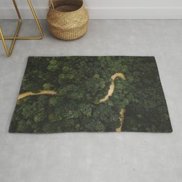 From Above Overview Of Dense Green Forest Rug