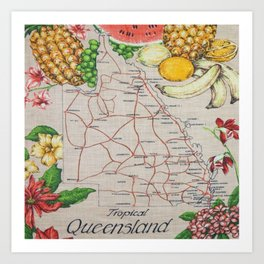 Vintage Tropical Queensland  Art Print