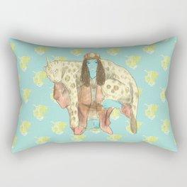 alien girl and jaguar unicorn pet Rectangular Pillow