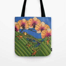 Tree Frog with Orchids Tote Bag