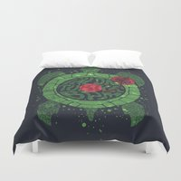selena Duvet Covers featuring On Turtle BPM by Sitchko Igor