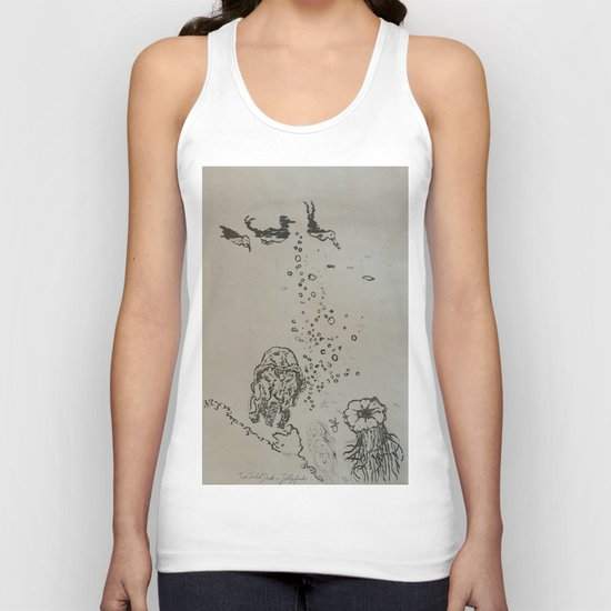 Under The Sea Green Black and White Unisex Tank Top