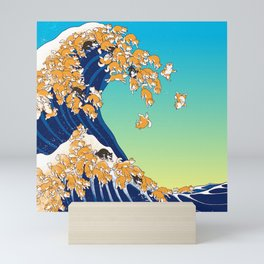 Shiba Inu in Great Wave Mini Art Print