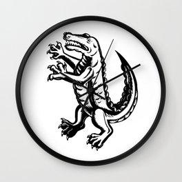 Alligator Standing Scraperboard Wall Clock