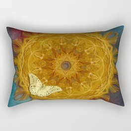 Magical fire mandala and gold butterfly Rectangular Pillow