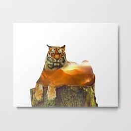Tiger Double Exposure Metal Print