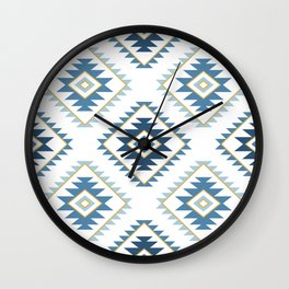Aztec Style Motif Pattern Blues White Gold Wall Clock