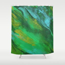 Square Green Abstract Acrylic Painting Shower Curtain