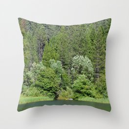one kayak in the green Throw Pillow