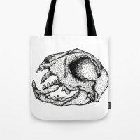 animal skull Tote Bags featuring Animal Skull by Emma Heller
