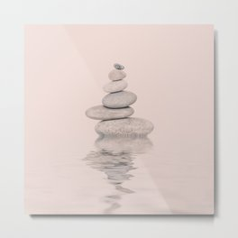 Balanced Harmony Zen Pebble soft pink Metal Print